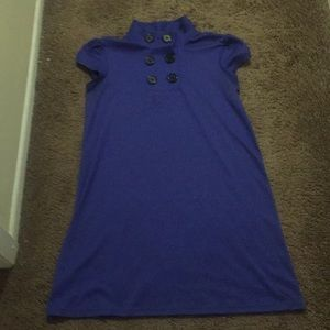 Collared Blue Shirt Dress with Buttons